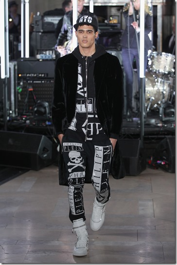 NEW YORK, NY - FEBRUARY 13:  A model walks the runway wearing look #20 for the Philipp Plein Fall/Winter 2017/2018 Women's And Men's Fashion Show at The New York Public Library on February 13, 2017 in New York City.  (Photo by Thomas Concordia/Getty Images for Philipp Plein)