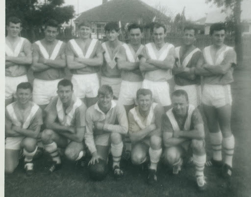 "1967 -68 ? Back Row: Harold Hughes, Darryl Kellow, Graeme Funnell, Neville Fielding, Ron Burns, Geoff Haines, David Errington, Ziggy Romaninski. Front Row: Gary ""Gus"" Masters, Ian ""Bombo"" Makin, Col Shannon, Noel Lowe, John Morris."