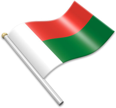 The Malagasy flag on a flagpole clipart image