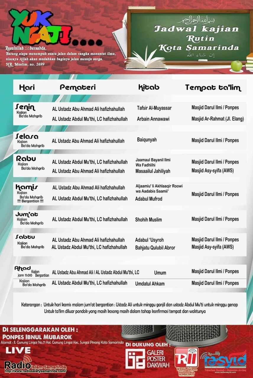 Informasi Jadwal Kajian Sunnah di Samarinda