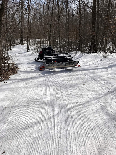 "Grooming a ""good"" section on Skaters Waltz, March 10th, 2017. Although it looks good, the base is rock hard icy and just enough edge on top to ski. With just a few short segments like this, we are not able to officially open up a full loop for skiing."