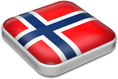 Flag of Norway with metallic square frame