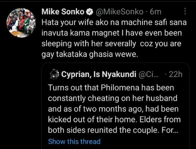 Nairobi boss Mike Sonko reaction to Cyprian Nyakundi on the death of Philomena photo