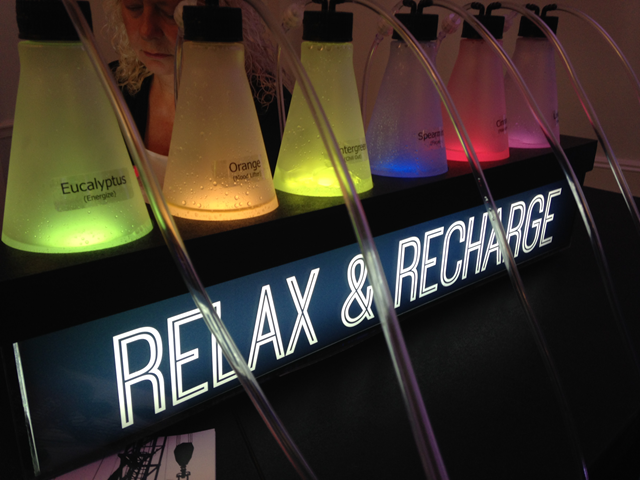 Politico's 'Flavored Oxygen Bar' at the 2016 Republican National Convention, where the American Petroleum Institute paid the Washington Post and Politico to host panel conversations where API literature was distributed, API representatives gave opening remarks, and not one speaker was an environmentalist, climate expert, scientist, or Democrat. Photo: Alex Emmons