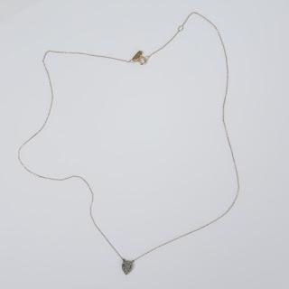 14K Gold Chain & Sterling Silver Diamond Heart Pendant