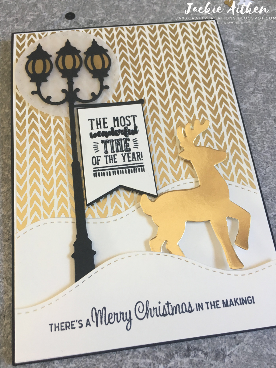 stampin up christmas card, brightly lit bundle, gold and vanilla, christmas cards
