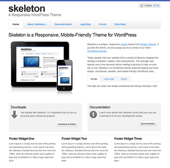 Skeleton Clean WordPress Theme