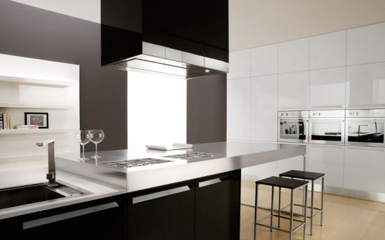 esta cocina moderna en blanco y negro est por gruesas placas de acero inoxidable esta placa integrada se combina con cmoda mesa para el