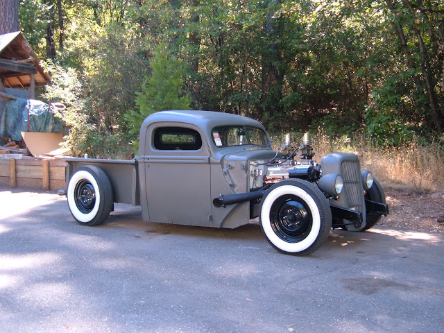 My son Matt built this heavy hammered 47 Ford truck, 401 powered!