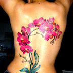 nature orchid tattoo design for girl on back