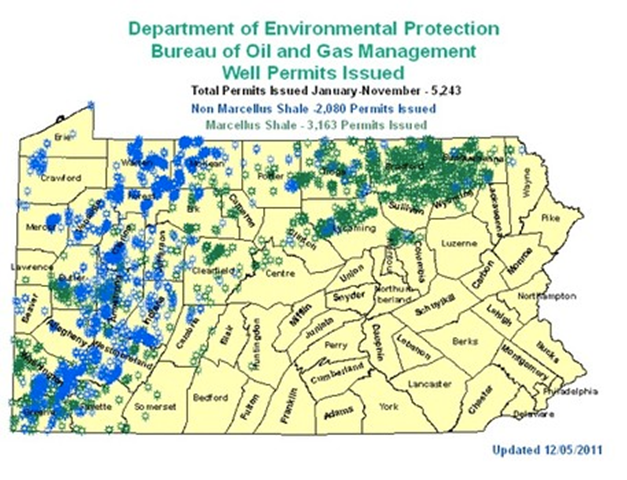 Permits for hydraulic fracturing wells across Pennsylvania, 5 December 2011. Thanks to hydraulic fracturing, Pennsylvania has seen an explosion in unconventional natural gas wells, with 5,243 permits issued by November 2011. Graphic: Pennsylvania Department of Environmental Protection