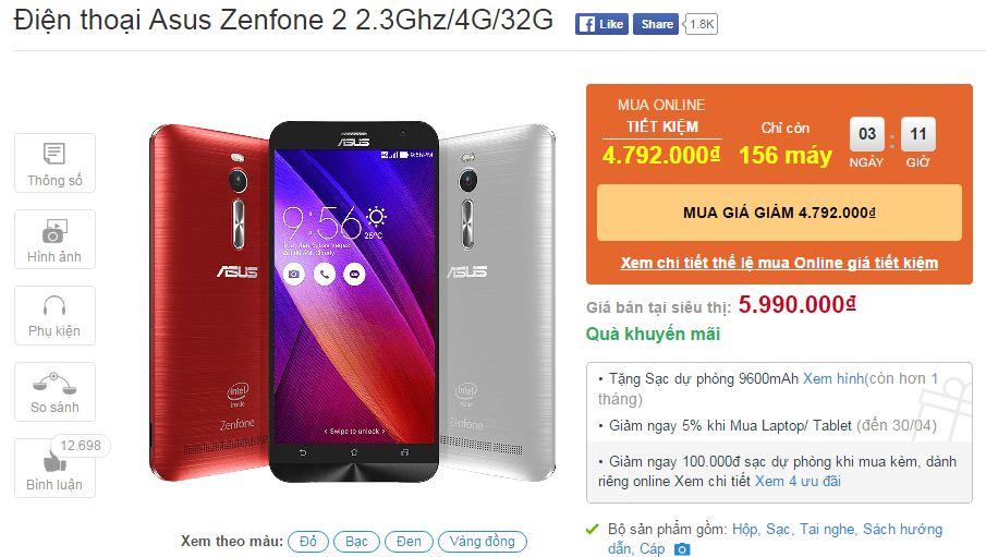 Zenfone 2 giảm giá sốc