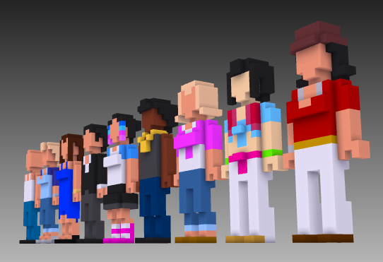 2nd set MagicaVoxel voxel people front
