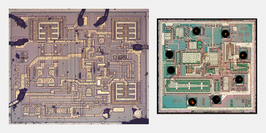 Die photos of the 555 timer (left) and CMOS 555 timer (right), to the same scale.
