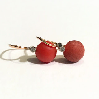 14K Gold, Coral, and Diamond Earrings