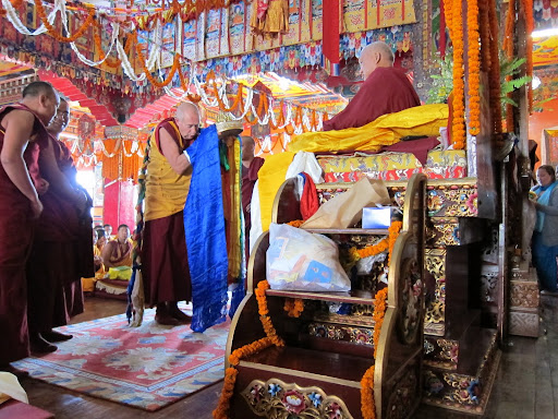 Long life puja, Ven.Gyatso offering mandala at Kopan Monastery December, 2012.
