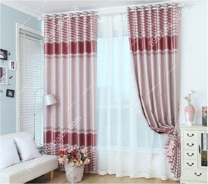 Rèm cửa cao cấp đẹp một màu có diềm hồng 10