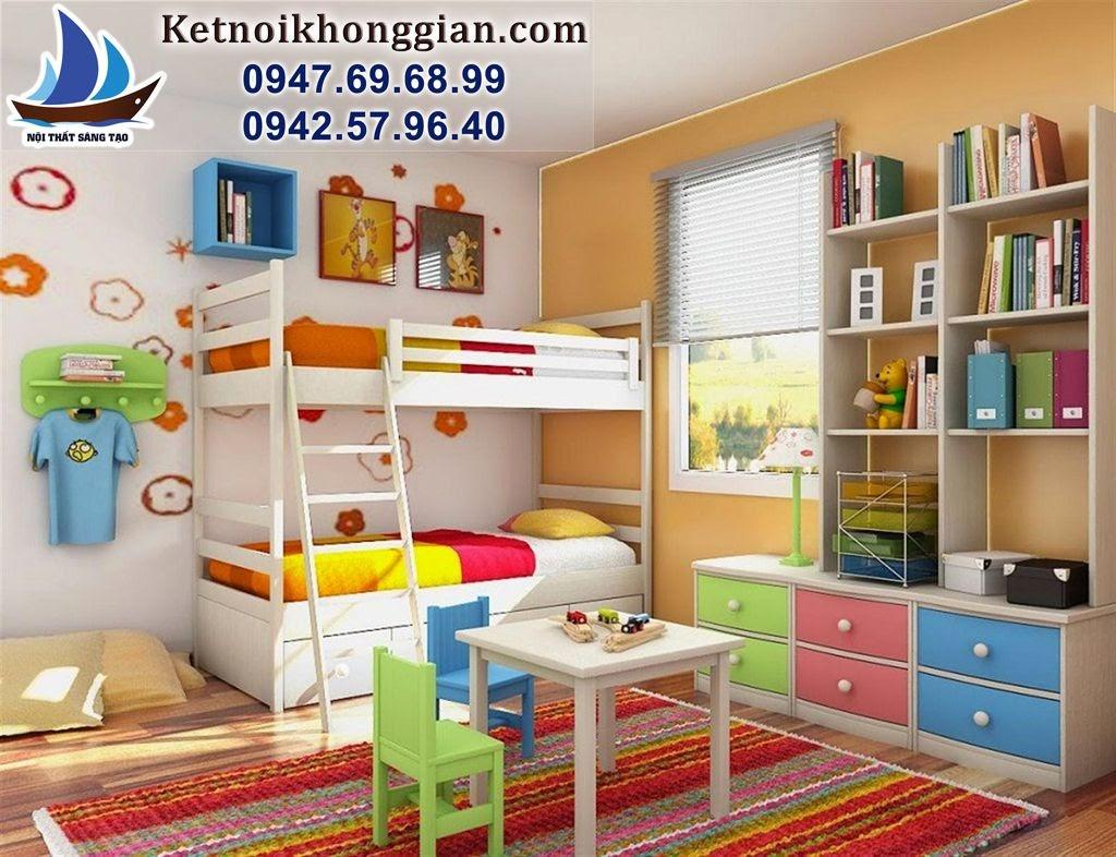 thiết kế phòng ngủ đẹp bé trai 7 sắc càu vồng