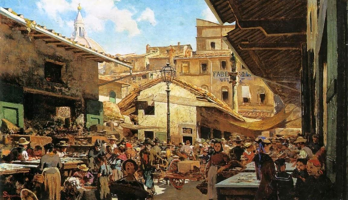 Telemaco Signorini - Mercato Vecchio a Firenze