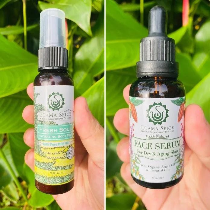 Bottles of Utama Spice natural body mist and face serum