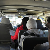 Scene from the back seat of a combi