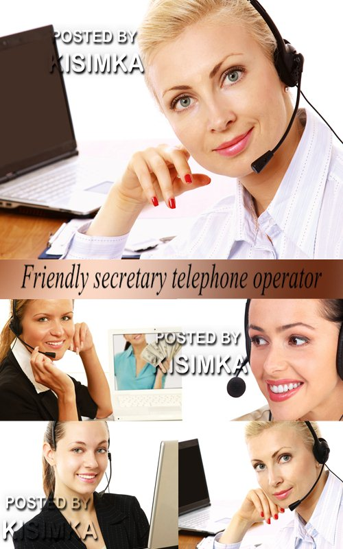 Stock Photo: Friendly secretary telephone operator