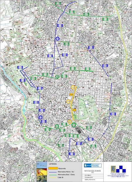 Cortes y desvíos de tráfico por los actos de celebración de la Fiesta Nacional del 12 de octubre 2012 - Pincha en el mapa para verlo ampliado