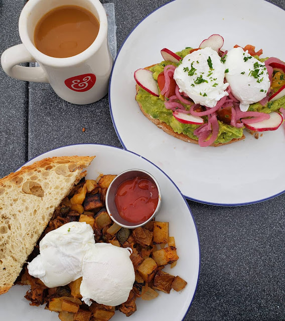 Brunch with coffee, avocado toast, potatoes, toast, eggs
