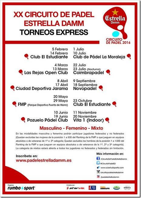 Vuelve a su cita anual el Circuito de Pádel Estrella Damm 2016 a la Comunidad de Madrid: TORNEOS EXPRESS