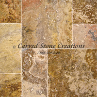 "Tuscany Scabos Travertine Pavers, 8"" x 8"" x 3cm.  Tumbled Finish."