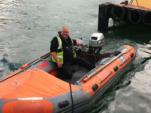Coxswain Jon Clark testing out what it will be like when we get the D class lifeboat!
