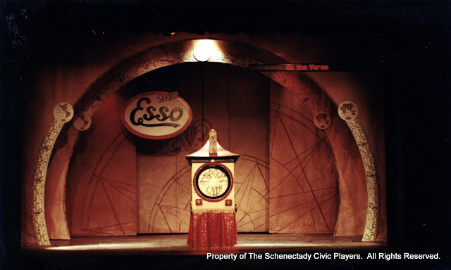 The set for ON THE VERGE - January/February 2000.  Property of The Schenectady Civic Players Theater Archive.