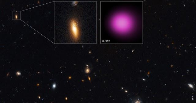 Un buco nero in transito da una galassia ad un'altra
