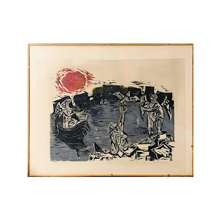 Modernist Signed Woodblock Print, Small
