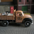 A Commer 15cwt dropside builders lorry. Modelled on one that used to be in my village using a much-modified Commer Superpoise cab and a greatly reduced CH5 chassis. The body was scratchbuilt and the wheels are from the Langley BMC LD van.