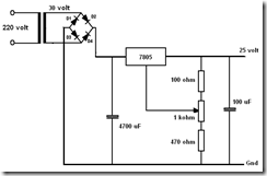 Catu daya yang dapat diatur keluarannaya 20 volt.. 30 volt DC