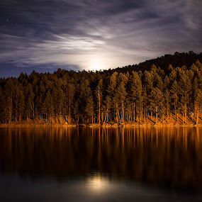 Lakefront by Angelica Less - Landscapes Waterscapes ( moon, moon rise, waterscape, night, lake, landscape, starscape, nightscape,  )