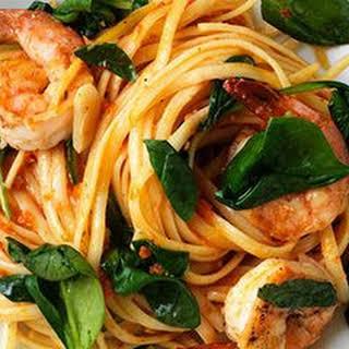 Shrimp Linguine with Sundried Tomato Pesto and Spinach.