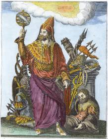 Mercurius Trismegistus From Pierre Mussard Historia Deorum Fatidicorum 1675, Alchemical And Hermetic Emblems 2
