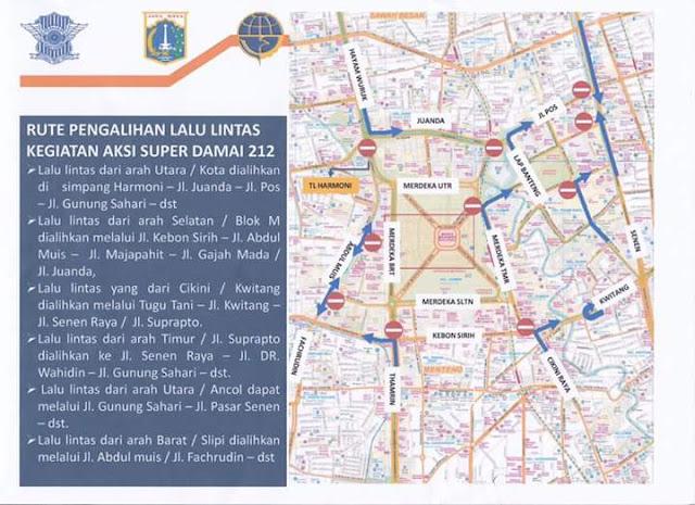 Besok Aksi DEMO 212 Super Damai, Berikut Rekayasa Lalu Lintas 2 Desember 2016 Sekitar Monas