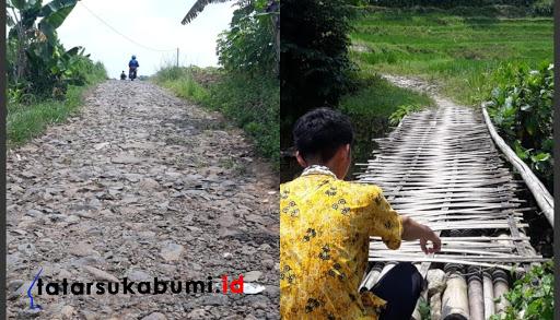 Kondisi jalan dan jembatan penghubung Kecatan Cikidang dan Bantargadung // Foto : Isep Panji