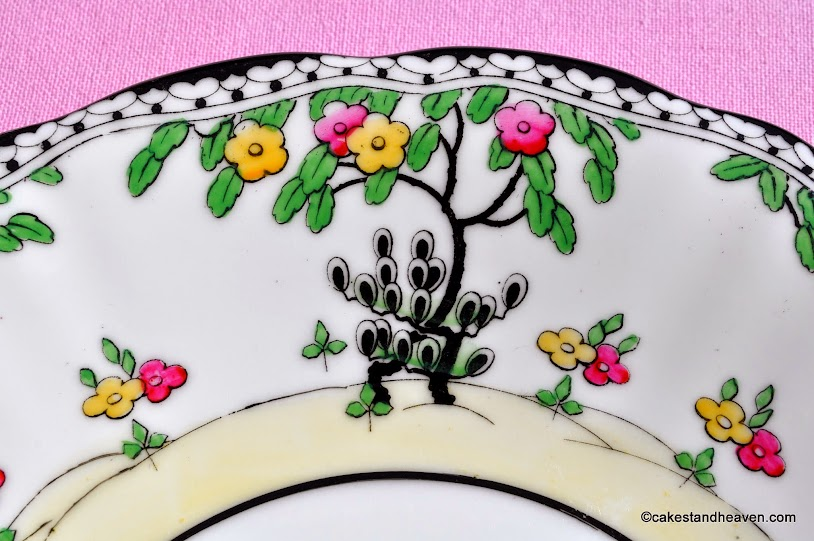 art deco Royal Doulton plate with hand painted trees design