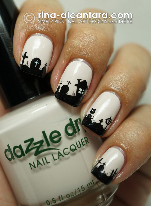 Graveyard Nail Art Design on Dazzle Dry Misty Moon