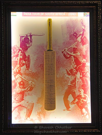 Cricket bat with signatures, from India Tour of South Africa 2010, Toss Sports Lounge Koregaon Park
