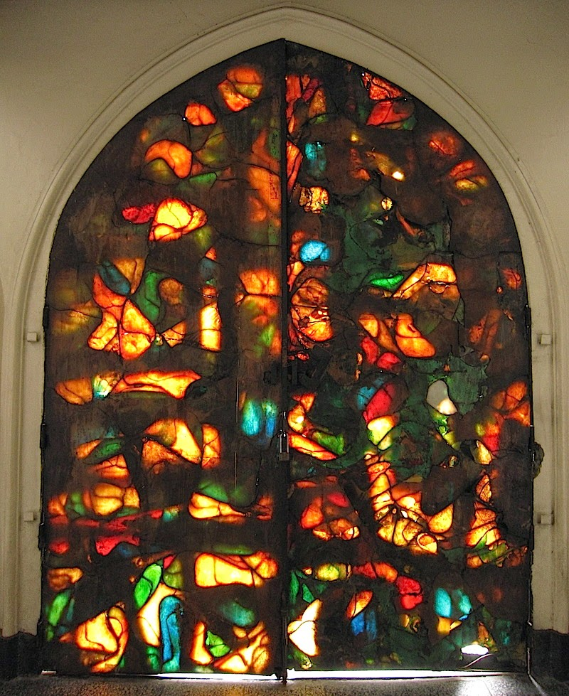 stained glass doors of San Beda Chapel