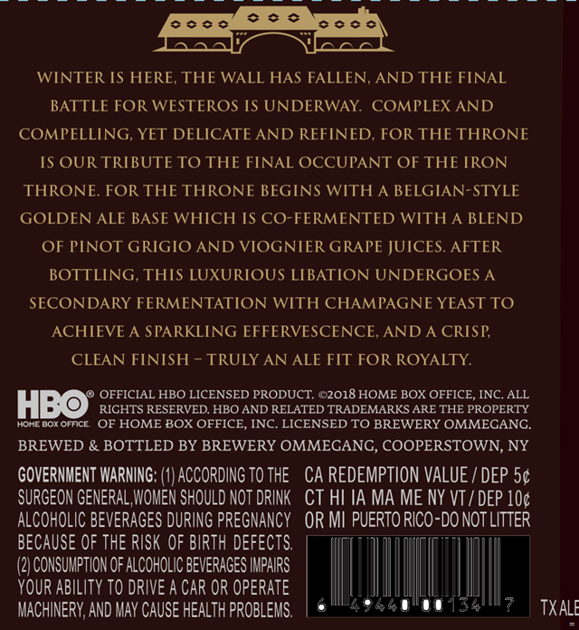 Ommegang Adding Game Of Thrones For The Throne Golden Ale