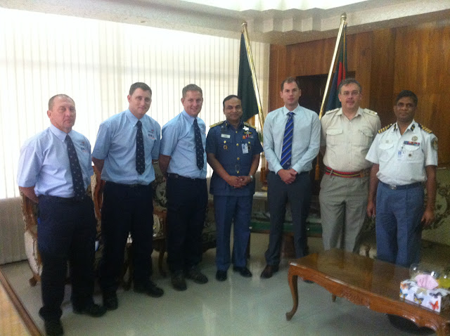 7 October 2012 - the RNLI training party meet the Bangladeshi Head of Navy.  L-R: Bernie Mannings, Alex Evans, Dave Riley, Head of Navy, Steve Wills, two other Bangladeshi dignitaries.  Photo credit: Dave Riley