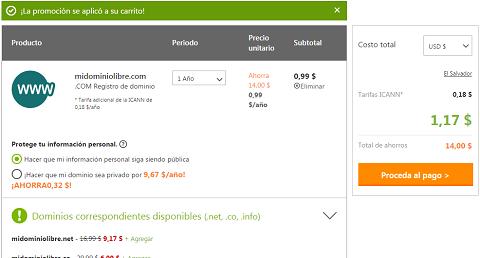 Comprar dominios a $0.99 en Godaddy