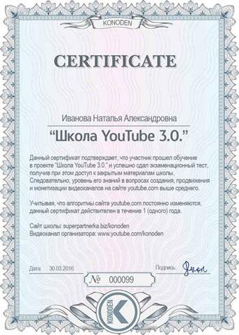 сертификат школы Коновалова