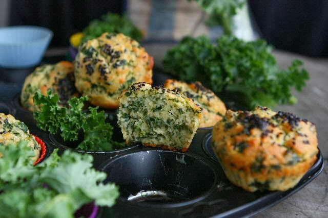 Kale Muffins with Kamut and Spelt
